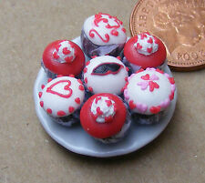 1:12 Scale 7 Assorted Cup Cakes On A Plate Dolls House Miniature Accessory CC9