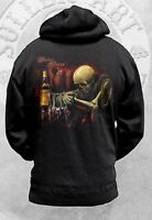 RARE! SULLEN TORRES SKELETON BAR ALCOHOL ZIP UP HOODIE ART INK PUNK TATTOO M-3XL