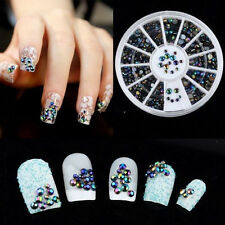 300pcs 3D DIY Crystal Black Glitter AB Rhinestone Nail Art Tips Decoration Wheel