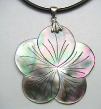 """Genuine Mother of Pearl Pendant w/ 2mm Leather Cord 16"""" Long Necklace # 20056-1"""