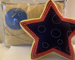 Freckles Brand KIDS Outer Space Toss Pillows Embroidered Star Earth  New  2