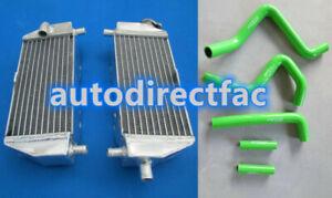 Aluminum Radiator + Green Silicone Hoses for Kawasaki KX125 KX250 1994-2002 95