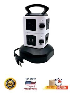 Power Strip Tower Surge Protector with 4 USB Ports 10 Outlet Plugs RHINO 13A