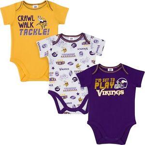 Minnesota Vikings Baby Onesie Bodysuit 3 Pk - Gerber NFL Newborn 3-6m 6-12m