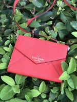 NWT KATE SPADE Perforated Leather Envelope Clutch Wallet Surpriseco/Maraschino
