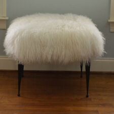 Real Natural White Mongolian Lamb Fur Stool Tibet Lamb Footstool Bench Ottoman