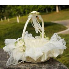 Beatiful Satin Lace Bowknot Flower Girl Basket For Wedding Ceremony Party Ivory