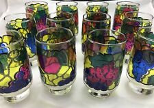 """VINTAGE LOT OF 12 LIBBEY JUICE FRUIT STAIN GLASS  DRINKING GLASSES  5-1/2"""" TALL"""