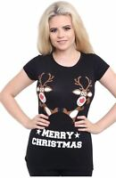 New Womens Novelty Santa Olaf Rudolph Snowman Minion Printed Christmas Tops 8-14