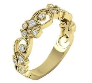 Flower Wedding Ring I1 G 0.35Ct Natural Diamond 14K Yellow Gold 6.15MM Prong Set