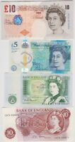 FOUR £10 BAILEY/£5 CLELAND/£1 SOMERSET & 10/- FFORDE NOTES NEAR MINT CONDITION