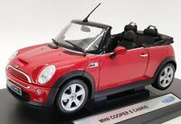 Welly 1/18 Scale Model Car 12552W - Mini Cooper Cabrio - Red