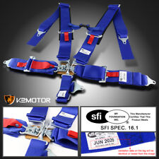 Blue Nylon Strap Safety Racing Seat Belt Buckle 5 Point Latch and Link Harness