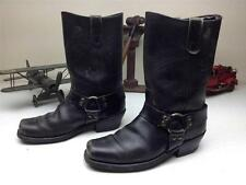 BLACK DISTRESSED HARNESS SQUARE TOE WESTERN COWBOY MOTORCYCLE BOOTS SIZE 10 D