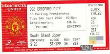 Ticket - Manchester United v Bradford City 05.09.00