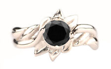 Round Shape 925 Sterling Silver 2.00 Carat Natural Black Diamond Solitaire Ring