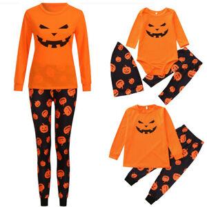 Cute Pumpkin Nightwear Christmas Pajamas Family Matching Sleepwear Kids Adults