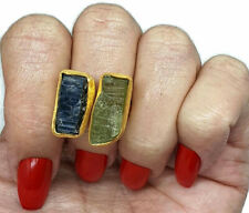 Rough Kyanite and Green Tourmaline Ring, Size 8, 14K gold Electroplated