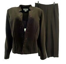 Danny & Nicole Womens Pant Suit 18 Beaded Brown Open Front 2 Pc L/S Washable