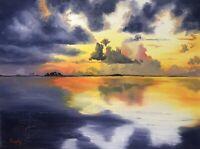 Original Sunset Oil Painting On Canvas Ocean Blue Gold seascape 12x16 canvas Art
