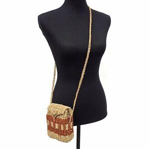 Vintage Woven Jute Basket Flap Satchel Mini Crossbody Shoulder Bag Purse