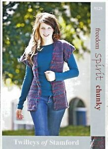"Twilleys Knitting Pattern 9129 Cable Trim Tunic Gilet Top 32-42"" Ladies Chunky"