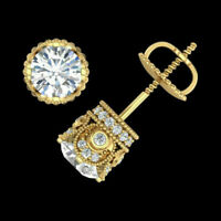 2.20 Ct Round Cut Diamond Solitaire Studs Earrings In 14k Yellow Gold Over