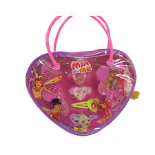 Mia e Me handbag heart-shaped with 2 clips 2 elastic cleaning brush and comb
