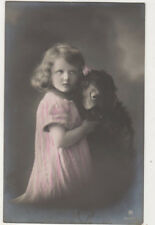 Little Girl Holding Furry Toy 1912 RPPC Postcard Children US075
