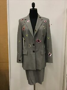 Escada 2 Pc Houndstooth & Butterfly Skirt Suit Jacket Sz 40/10 Skirt Size 46/6