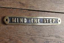 MIND THE STEP OLD ANTIQUE STYLE VINTAGE SIGN ~ SOLID CAST BRONZE PLAQUE ~ BZ-02