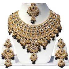 Gold Plated Jodha's Kundan Zerconic Bollywood Necklace Set Jewelry ES4-