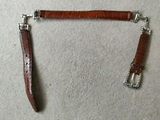 """Vintage 1996 BRIGHTON American Silver Plate and Leather Linked Belt - 28"""" Waist"""