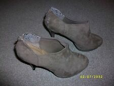 Ladies Taupe High Heeled Faux Suede Ankle Boots Size 7 from New Look