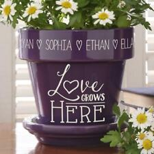 """Personalized Purple Love Grows Here Flower Pot / Planter w/ Saucer 5-1/2""""H"""