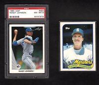 1990 Leaf Randy Johnson PSA Grade 8 & 1989 Topps #57T ROOKIE MT 2 Card Lot