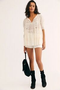 NWT FREE PEOPLE Sz L HEARTLANDS EMBROIDERED EYELET MESH TUNIC TOP IVORY CREAM