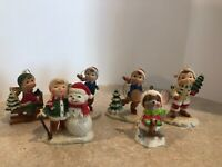 6 Vintage Plastic Christmas Ornaments Made in Hong Kong ~ Boy/girl/mouse  L4