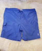 IZOD PF Men's Swim Trunks Adult Large Blue Board Shorts Mesh Lined Drawstring