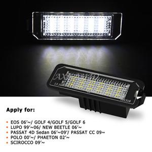 2x Canbus LED Number License Plate Light Bulb For VW GOLF MK 4 5 6 Passat B6 EOS
