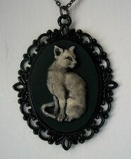 Feline CAT Setting Pretty Hand Painted CAMEO Pendant NECKLACE