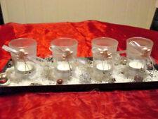 4 Kerzengläsern mit Tablett, Schleifen und Engel, Adventskranz, Teelichter, Neu
