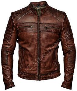 Men Distressed Biker Vintage Antique Brown Cafe Racer Real Winter Leather Jacket