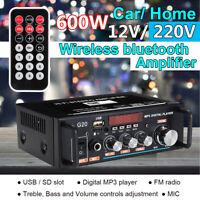 bluetooth Audio Stereo Power Amplifier 600W Karaoke HIFI USB FM SD MIC Port 220V