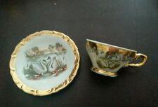 Vintage Bavaria Germany Demitasse Porcelain Cup & Saucer Set Gold Leaf Swans