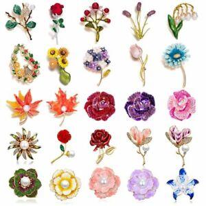 2021 Charm Plant Flower Enamel Crystal Brooch Pins Corsage Women Wedding Jewelry