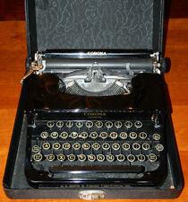 Antique Very Nice Deco 1930's L C Smith Corona Flat Top Typewriter, Case & Brush
