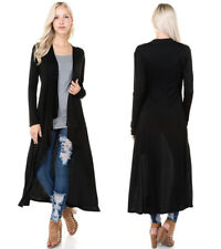S-L Soft Light Knit Duster Cardigan Long Sleeve Loose Open Oversized Black Taupe