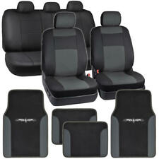 Black Charcoal Gray PU Leather Car Seat Covers with Vinyl Trim Floor Mats⭐⭐⭐⭐⭐