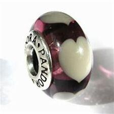 Genuine Pandora Violet Love Gray Hearts Murano Glass Bead 790659 with Box Shown